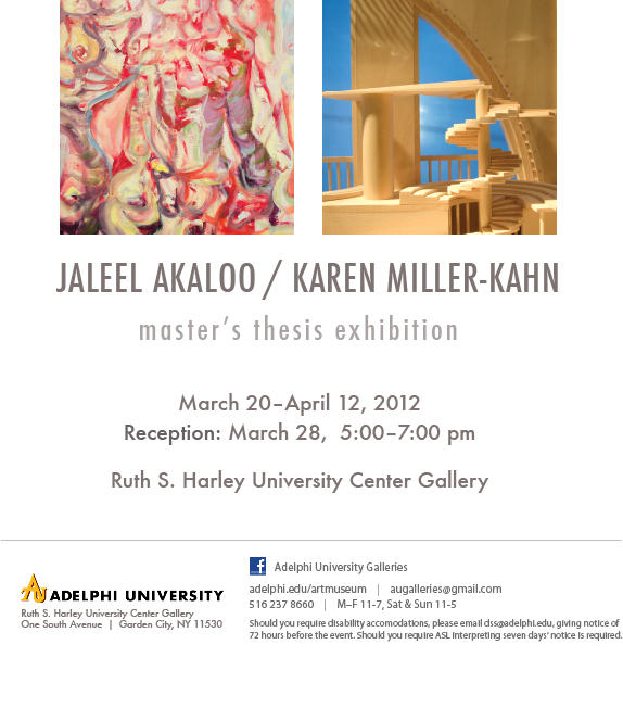 Karen Miller-Kahn Master's Thesis Exhibition Adelphi University